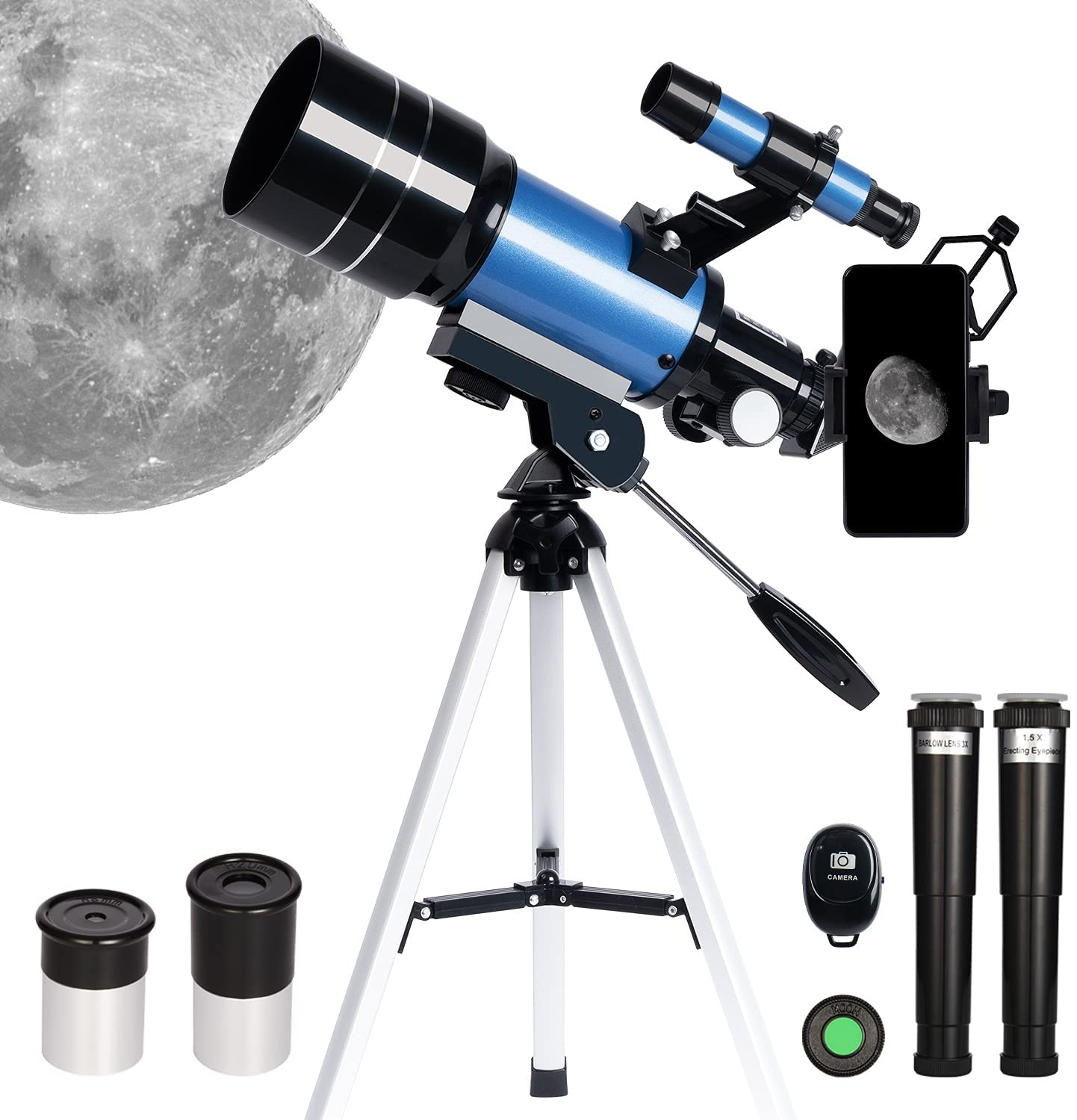 ESAKO Telescope for Kids & Beginners 70mm Portable Astronomical Telescopes with Monocular Phone Mount & Remote Control
