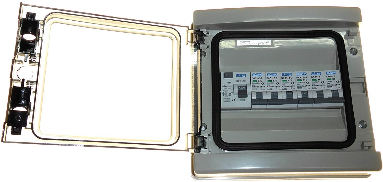 ESR RCD consumer unit + 6 x MCB - 63 amp 30mA trip switch and 2x 6A, 2x 16A, 2x 32 amp circuit breakers waterproof IP65