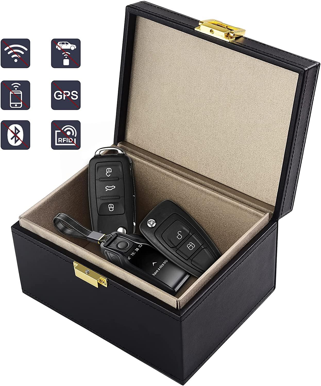 Faraday Box, [New Version]Diyife Car Key Signal Blocker Box, Anti-Theft Key Fob Protector Large RFID Signal Blocking Box for Car Keys, Phones, Credit Card (Black)