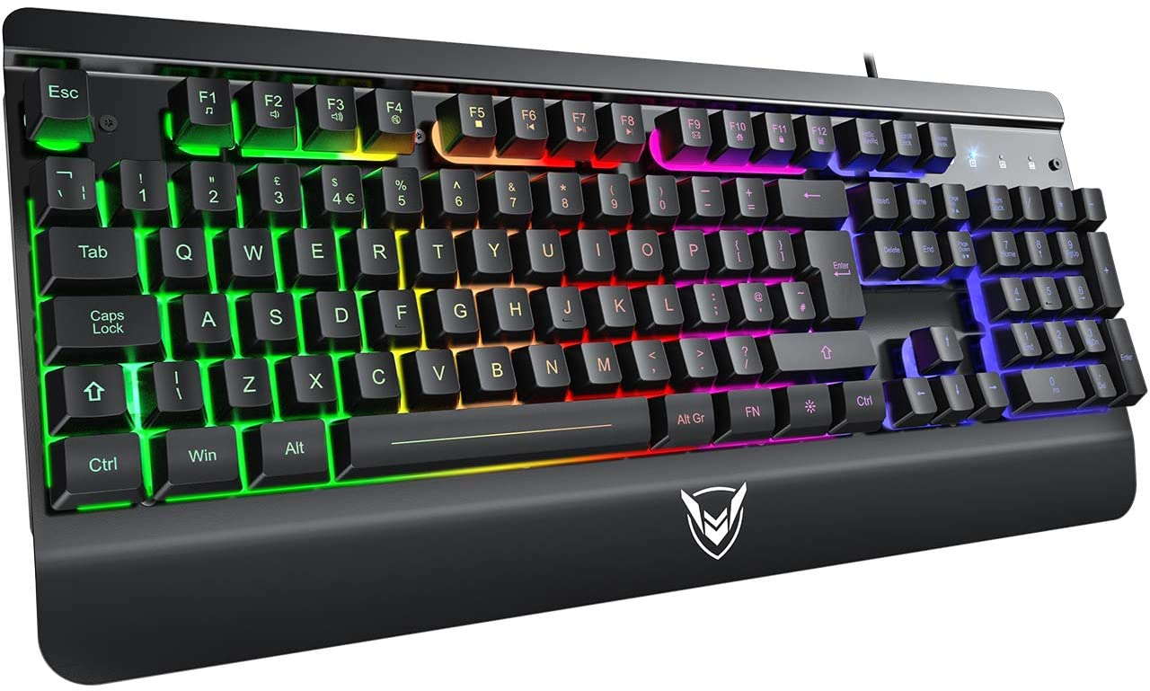 Gaming Keyboard, PICTEK Ultra-Slim All-Metal Panel Wired USB Gaming Keyboard with Bright Rainbow Backlight and Glow Keys, 19-Key Anti-Ghosting, Plug & Play to Computer,Laptop,PC,Windows - UK Layout
