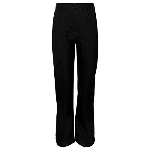 Girls Back To School Pull Up Half Elasticated Waist Trousers Kids Toddlers Children Junior Stretch Waistband Comfort Fit Casual Formal Uniform Plain Nursery Pull On Pants Bottom Legging