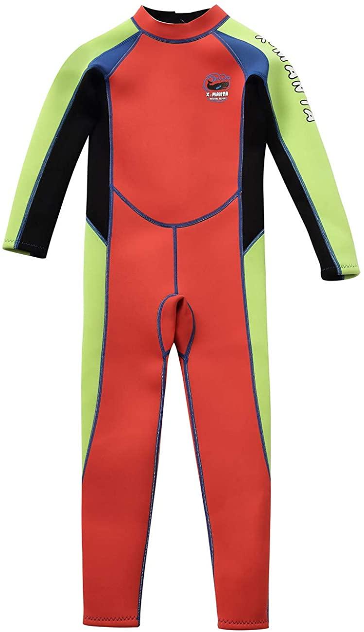 Gogokids Kids Wetsuit - Boys Girls Rash Guard One Piece Thermal Swimsuits 2.5mm Neoprene Diving Snorkelling Suit UV 50+ Sun Protection, Orange S
