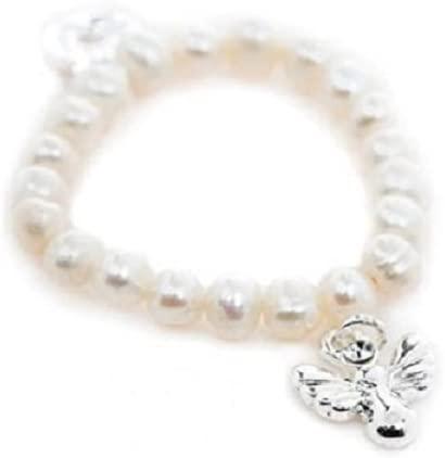 Guardian Angel Childrens Pearl Effect Christening Bracelet