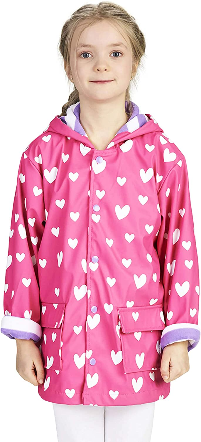 Hatley Girl's Printed Raincoats, Pink (Colour Changing Sweethearts 650), (Size: 2 Years)