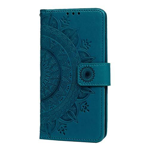 Honor 10 Lite Case, Huawei P Smart 2019 Case, Shockproof PU Leather Flip Notebook Wallet Cover Embossed Totem Kickstand Feature Card Holder Bumper Cover with Magnetic Closure Skin