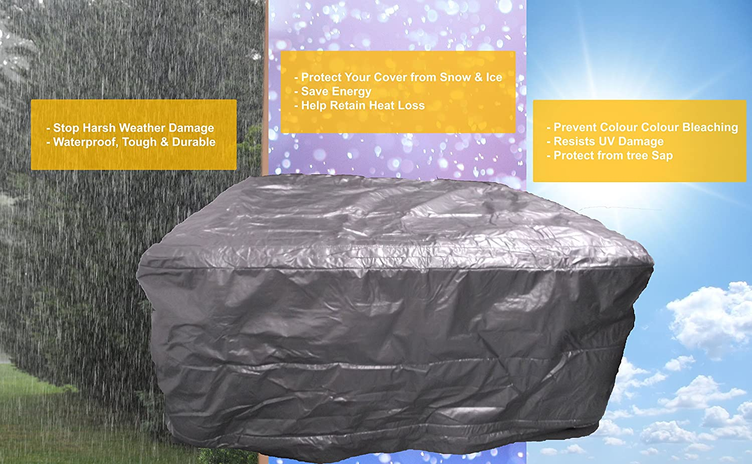 Hot Tub protection Bag, Winter Weather Proof Spa Cover (1740 x 1740 x 920)