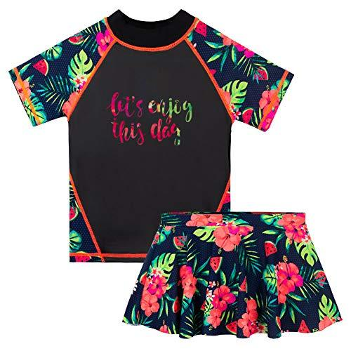HUAANIUE Girls 2PCS Swimsuit 3-8Y Swimming Set Short Sleeve Swimwear Summer Beach Swimming Costume Outfit Sun suit (BlackFlower swimsuit, 3-4Y(Tag No.4A))