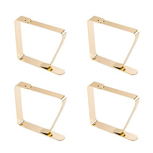 """INCREWAY Tablecloth Clips, 4pcs Gold Stainless Steel Durable Tablecloth Holders Large Table Cover Clamps for Tables Thickness Below 1.96"""""""