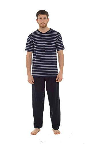 INSIGNIA Mens Pyjamas Set Short Sleeve Top & Long Bottoms Pants Summer,Small,Insignia Grey & Black