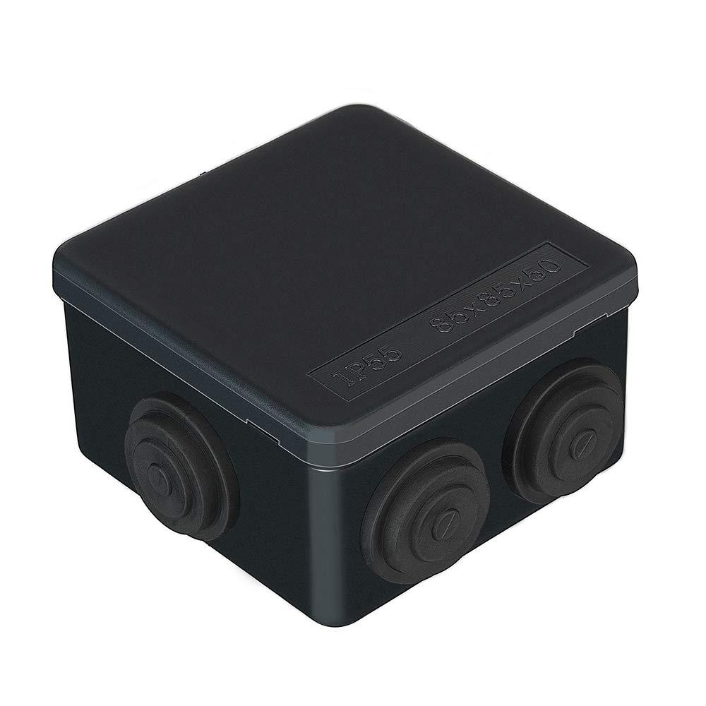 IP55 Black 85x85x50mm Weatherproof Outdoor CCTV IP Junction Box, External Electrical Junction Box with Waterproof PVC Plastic Enclosure for Transformers, Terminals, CCTV, LED Underground Lights