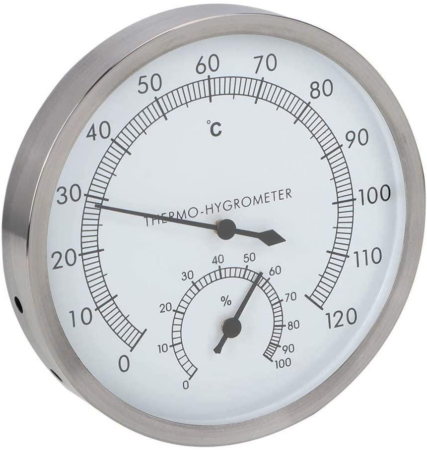 Jacksking Sauna Thermometer, 2-In-1 Stainless Steel Steam Room Sauna Room Thermometer Hygrometer Thermo-Hygrometer Indoor