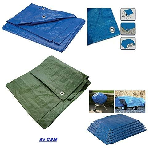 KAV - Strong Waterproof Universal Tarpaulin Tarp sheet in Blue or Green - Ground Sheet Covers For Camping Fishing Gardening Pets Premium Quality Cover Made of 80 gramm