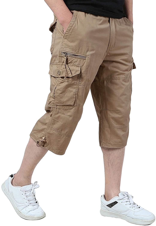 KEFITEVD Men's 3/4 Cargo ShoLoose Fit Multi-Pocket Elastic Long Capri Shorts Pant, Khaki, 32
