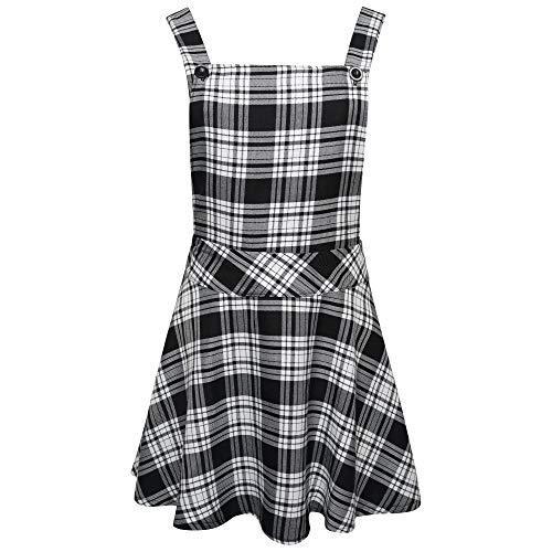 Ladies Womens Tartan Check Pinafore Dungarees Buttoned Mini Skirt Dress UK Sizes 8 10 12 14 (Black/White, 8)
