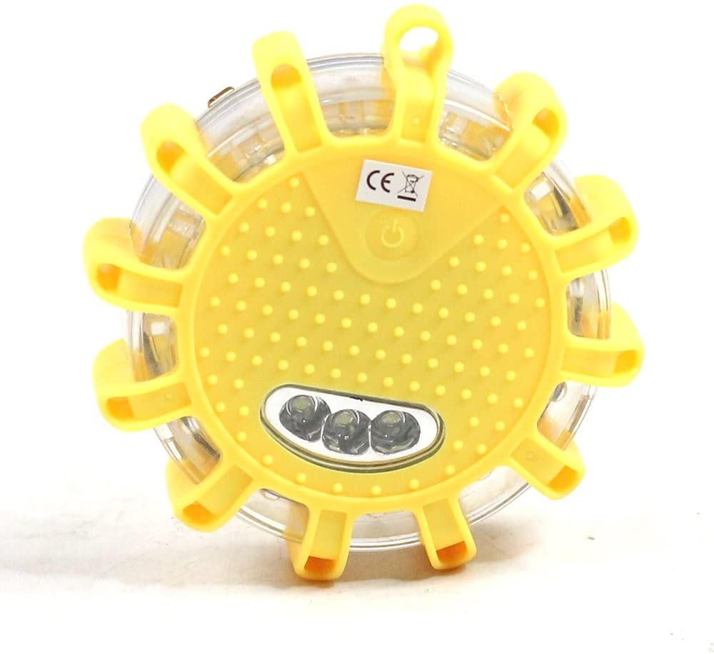LED Road Flare Strobe Warning Lights Beacon with Magnetic Base (Yellow)