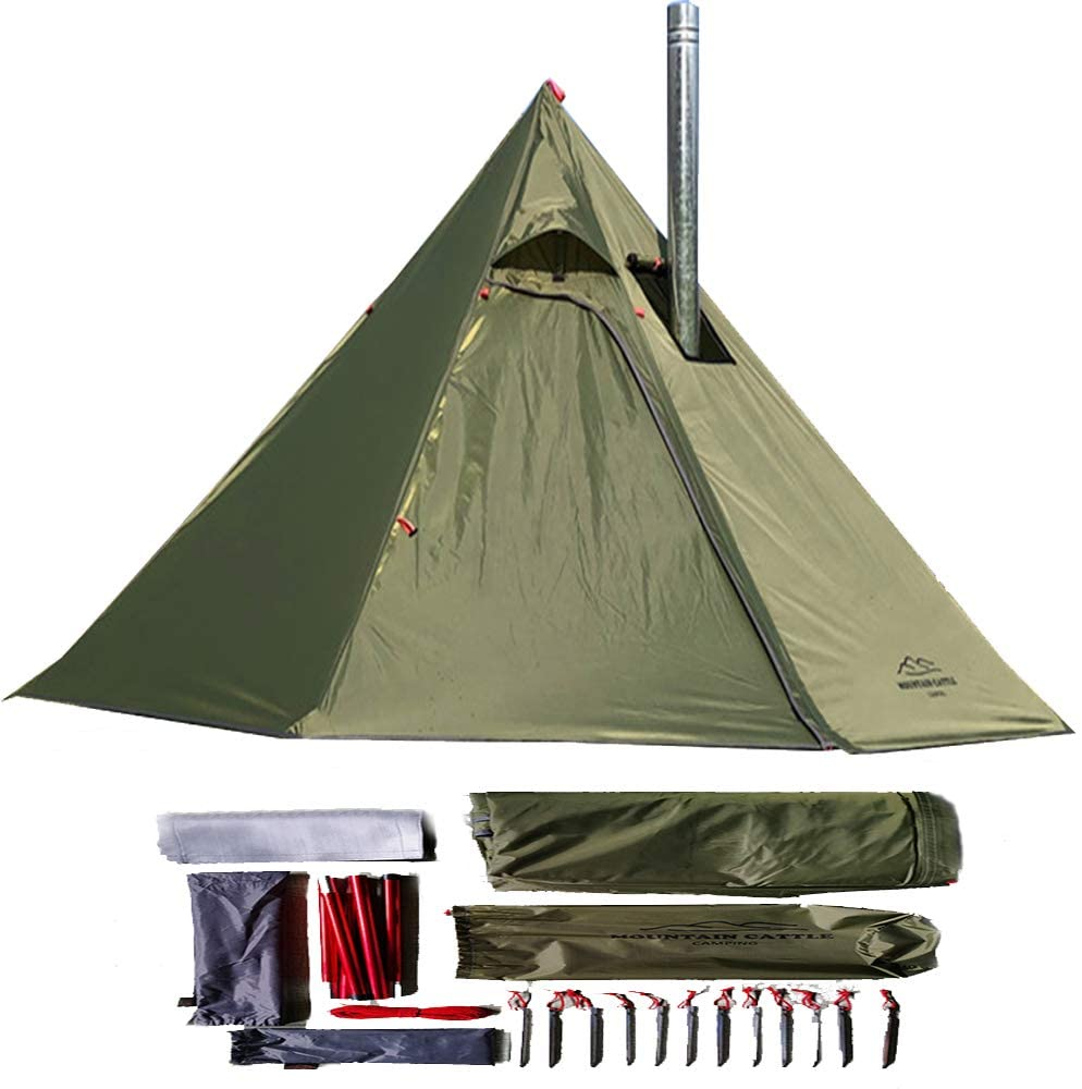 longeek 1-2PersonTent Teepee Tents for Outdoor Backpacking Camping Hiking Heated Shelter Smokey HUT Chimney hot Tipi Easy Set Up