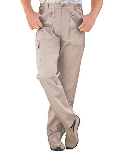 Mens Elasticated Multi Pocket Cargo Combat Work Trouser Pants Stone 32W / 27L