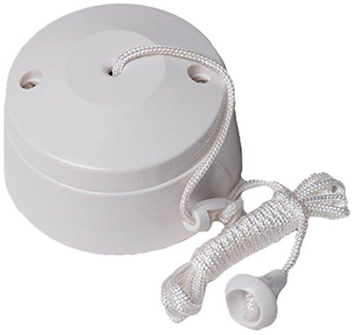 Merriway BH02684 2-Way Ceiling Switch Bathroom Pull Cord, Round 5 Amp-White