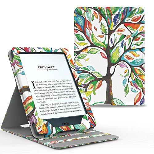 MoKo Case for Kindle Paperwhite, Premium Vertical Flip Cover with Auto Wake / Sleep for All Paperwhite Generations Prior to 2018 (Will not fit All-New Paperwhite 10th Generation), Lucky TREE