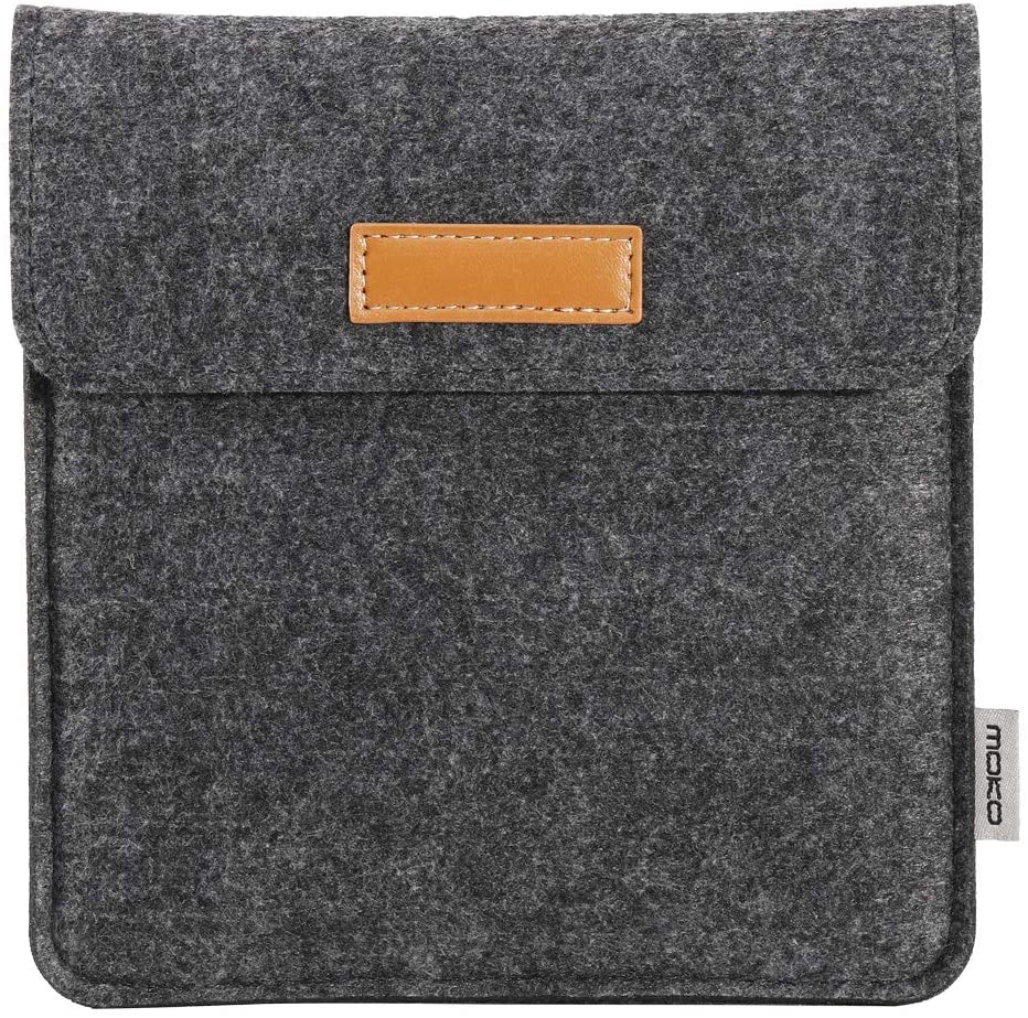 MoKo Sleeve Compatible with Kindle Oasis 2019/2017, Protective Felt Accessories Cover Case Pouch Bag with Dual Pockets Fits 7 Inch Kindle Oasis E-reader, Dark Gray