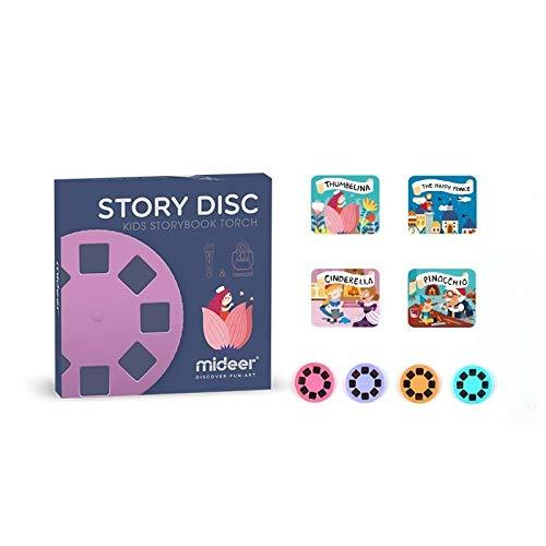 Multifunctional Story Projection Flashlight Torch, Kids Sleep Bedtime Story Projector, 8 Fairy Tales Movies 64 Slides, Time Switch Night Light, Great Educational Toy Gift for Toddlers-Disc_II