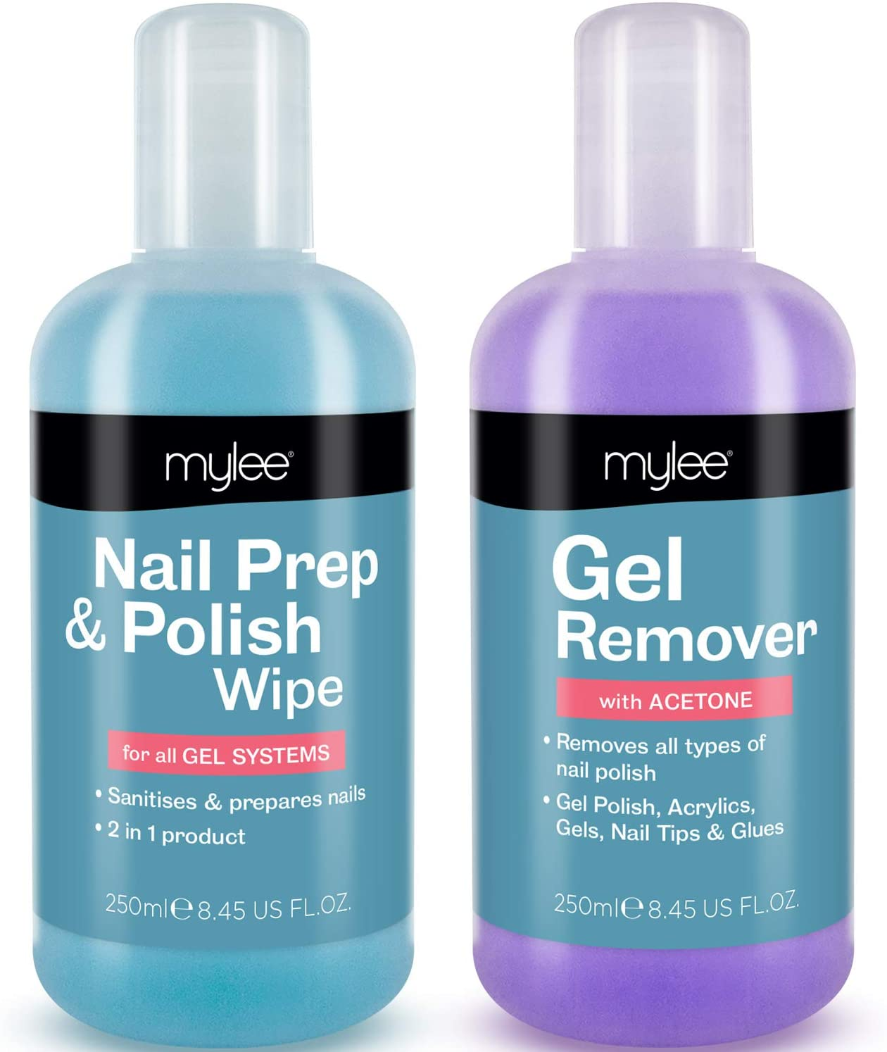 Mylee Nail Gel Polish Prep Wipe + Remover Cleanser UV LED Manicure Acetone 2x250ml by Mylee