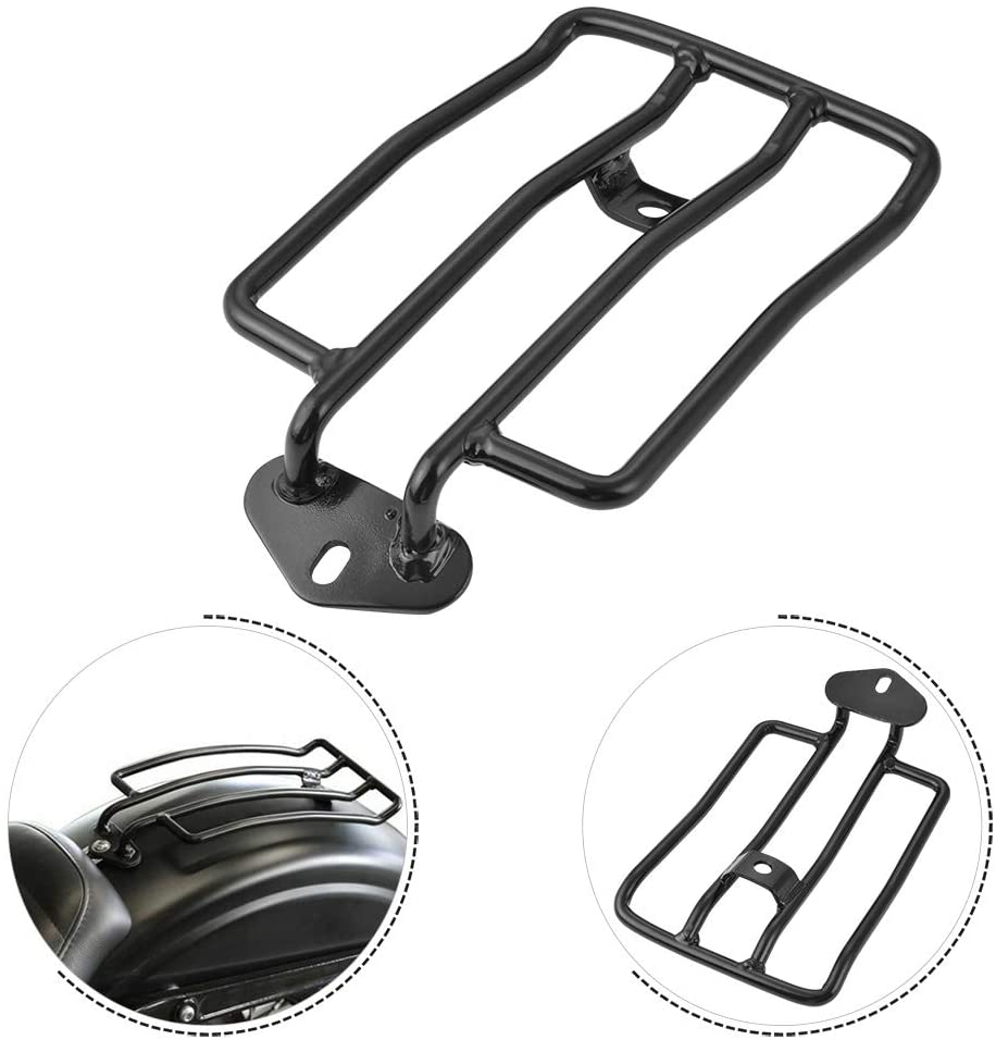 """NATGIC Motorcycle Rear Solo Seat 180mm (7"""") Black Stainless Steel Motorcycle Rear Shelf Motorcycle Luggage Rack for Harley XL Sportsters 2004-2018"""