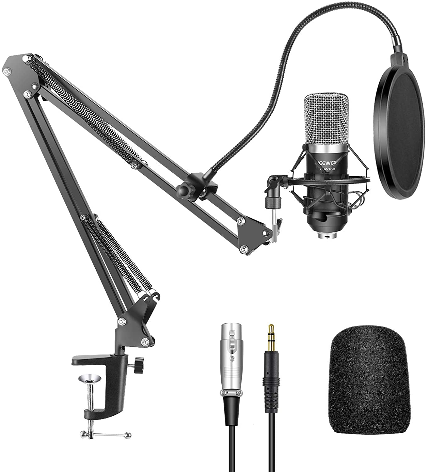 Neewer® NW-700 Professional Studio Broadcasting Recording Condenser Microphone & NW-35 Adjustable Recording Microphone Suspension Scissor Arm Stand with Shock Mount and Mounting Clamp Kit