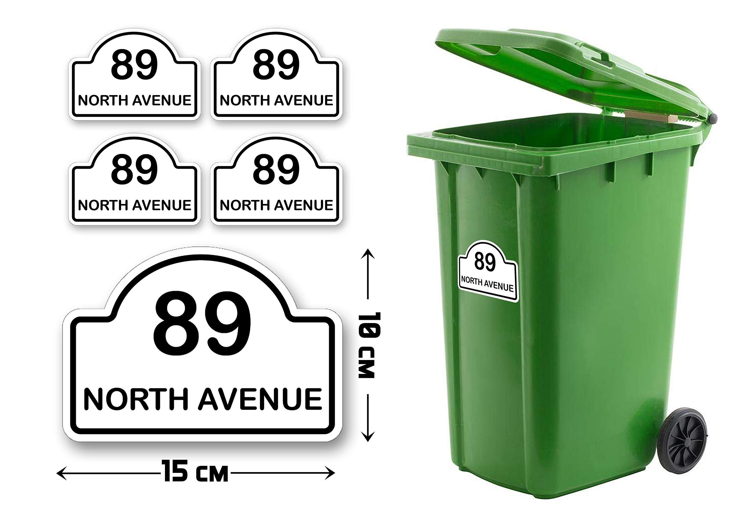 Pack of 4 A6(150 x 100 mm) Size Personalised Custom Wheelie Bin Arch Stickers with Your House Number, Digit, Letter & Road Name,Waterproof Labels or Decals#PBN07 Stickers Limited