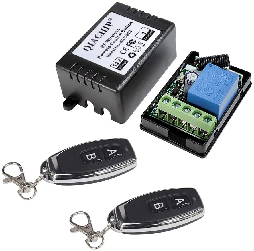 QIACHIP Universal Wireless Relay Module 12V 1CH Remote Control Light Switch Receiver RF 433 Mhz with 2 Smart Transmitters for Entrance Control, Car Light 164ft Long Range
