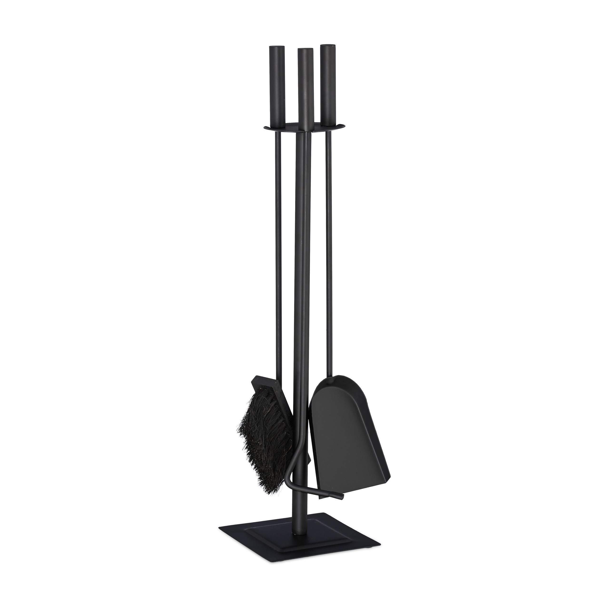 Relaxdays 4-Piece Fireplace Companion Tool Set Shovel, Brush, Poker & Holder, Modern Design, Black, 61 x 15 x 15 cm