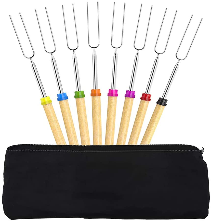 """Roasting Sticks, CestMall Set of 8 Barbecue Forks 32"""" Marshmallow Roasting Sticks, Stainless Steel Hot Dog Fork with Wooden Handle Grilling Skewers for Camping Campfire Party Picnic Meal Buffet Dinner"""