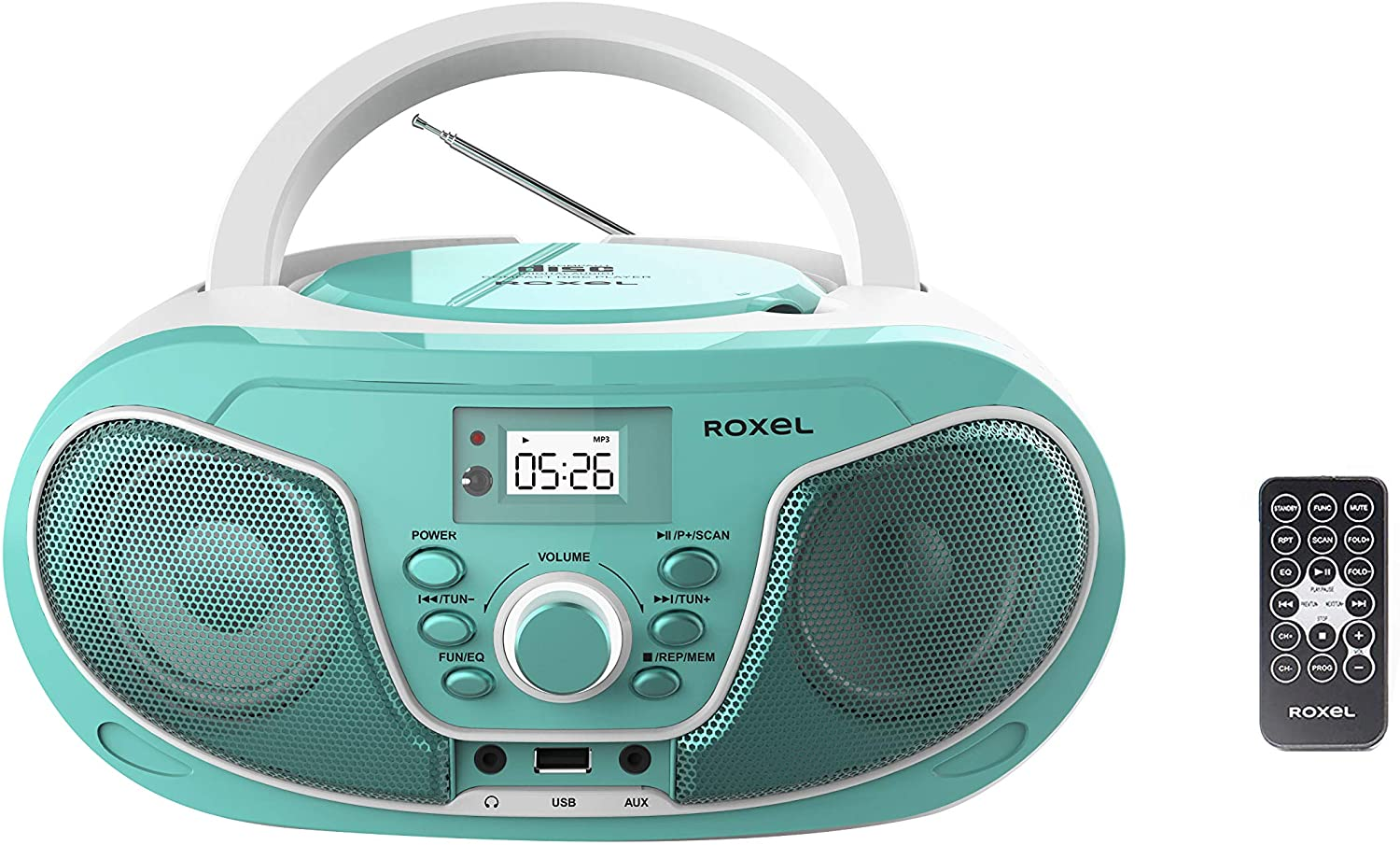Roxel RCD-S70BT Portable Boombox CD Player with Bluetooth, Remote Control, FM Radio, USB MP3 Playback, 3.5mm AUX Input, Headphone Jack, LED Display (Teal)