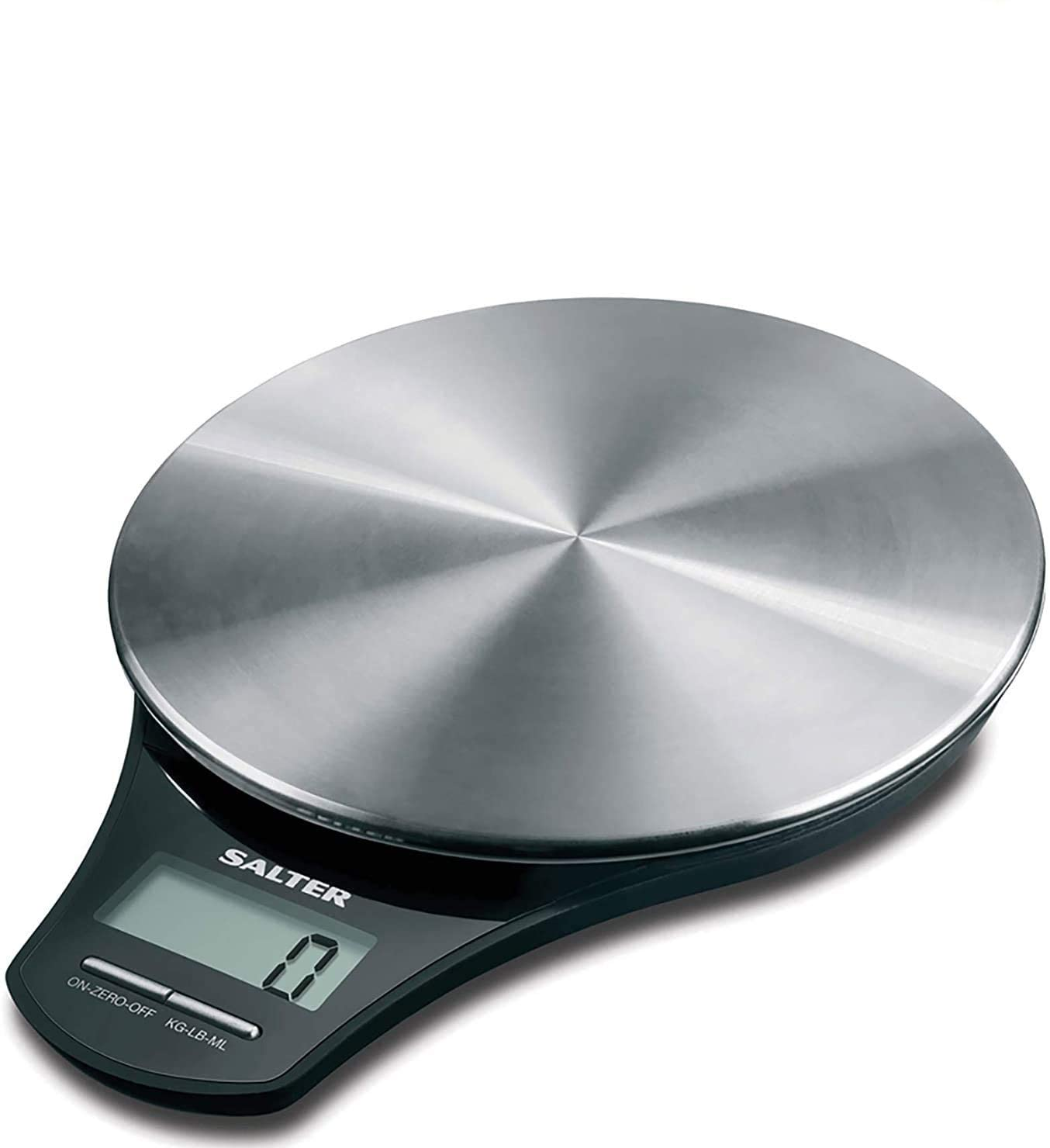 Salter Stainless Steel Digital Kitchen Weighing Scales - Electronic Cooking Scale Appliance for Home, Weigh Food with Accurate Precision up to 5kg, Plus Liquids in ml and fl. Oz. 15 Year Guarantee
