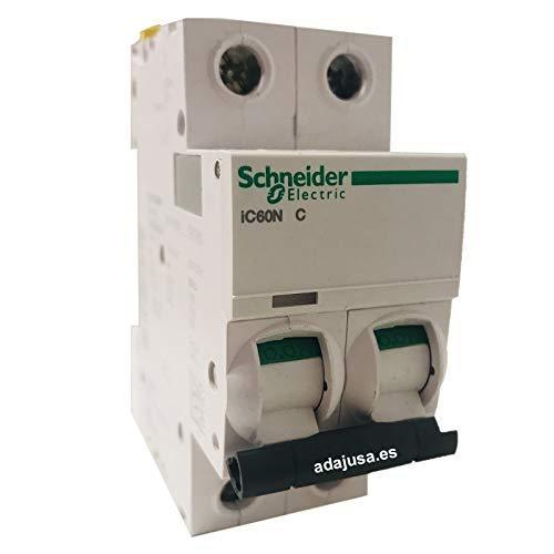 Schneider A9F74210 iC60N 2P 10A C MCB Miniature Circuit Breaker, White, Set of 6 Piece
