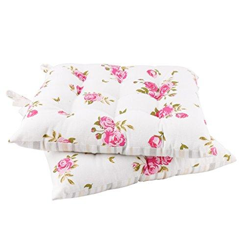 Set of 2 Seat Pads Floral Print Dining Chair Tie-On Cushions