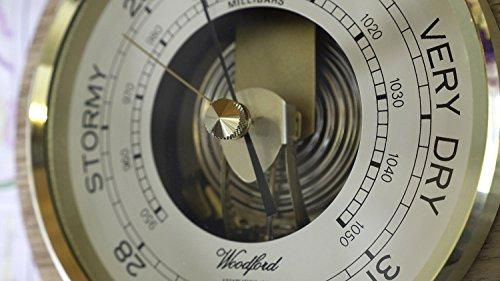 Silver2Love Woodford Wooden Round Barometer - modern design - 7 inch diameter -