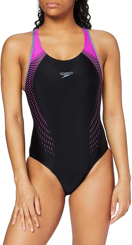Speedo Women's Fit Laneback Swimsuit, Multicolor (Black/Violet),28 UK