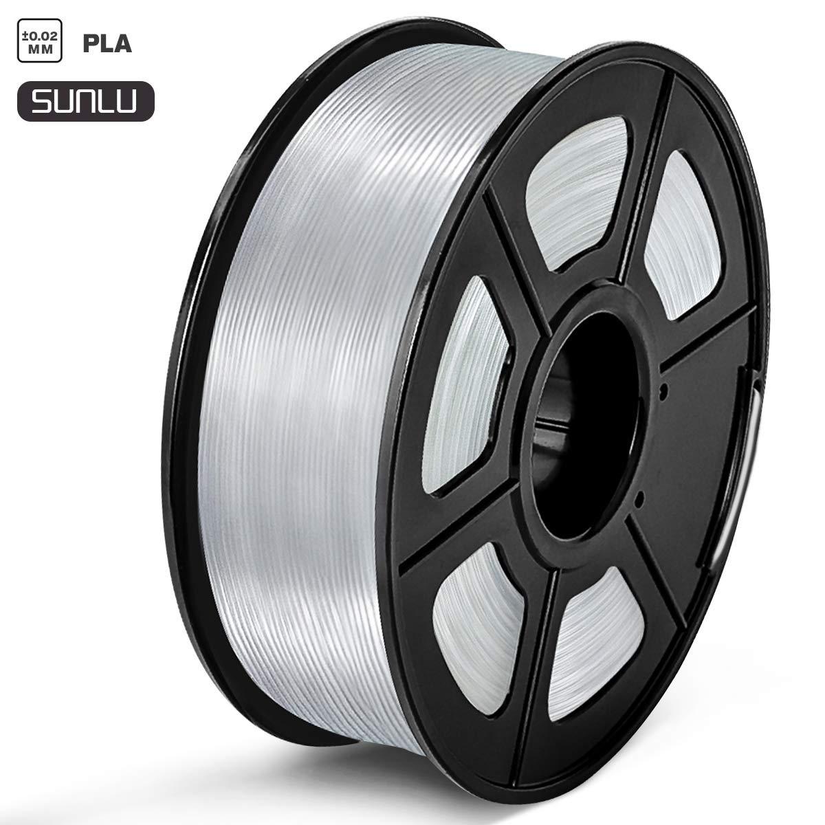 SUNLU PLA Filament 1.75mm 3D Printer Filament PLA Tangle-Free 1kg Spool (2.2lbs), Dimensional Accuracy of +/- 0.02mm PLA Transparent