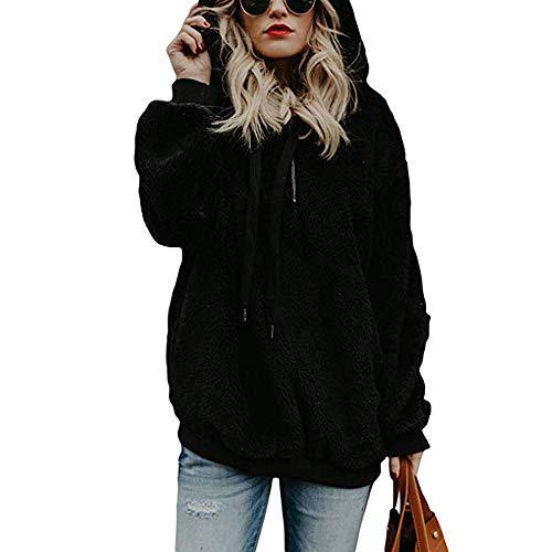 Toamen Womens Coat Sale Ladies Warm Faux Wool Zipper Pockets Hooded Pullover Sweatshirt Tops Outwear(Black, 10)