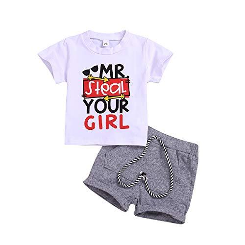 Toddler Baby Boy Summer Shorts Set MR. Steal Your Girl T-Shirt Top+Shorts with Pocket 0-3Y White