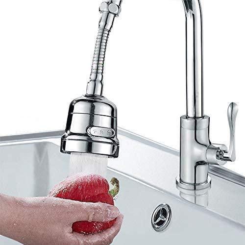 Uni-Fine Adjustable Kitchen Tap Spray Head 3 Gear, ABS Plastic Water-Saving Faucet 360°Swivel Faucet Nozzle Filter Splash-Proof Faucet Tap Aerator Bathroom Shower Kitchen Tap Sink Accessories (Long)