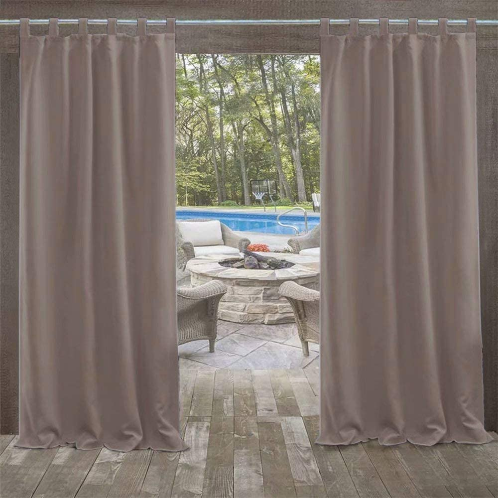 """UniEco - Outdoor Curtains for Gazebo with Loops, Mildew Resistan Pergola Curtains, Perfect for Garden Patio Balloon of Pavilion Beach House, 1 Piece, 50"""" W*84"""" H, Taupe Grey"""