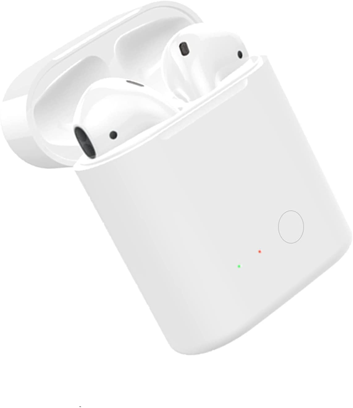 Upgraded Qi Wireless Charging Case Replacement Compatible with AirPods 1 2 with Sync Bluetooth Pairing Button, Protective AirPod Charger Cover air pods charging dock (White)