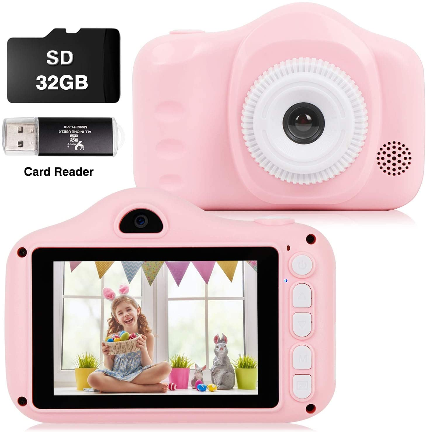 Weefun Kids Camera Toys Dual Lens Digital Selfie Camera for 3-10 Year Old Children 3.5 inch Color Screen 1080FHD with 32GB SD Card, Gifts for Boys and Girls Pink