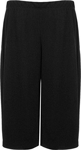 Womens Plus Size Floral Spot Paisley Print Ladies Stretch Elasticated Waist Wide Leg Culottes Shorts (12/14, Black)