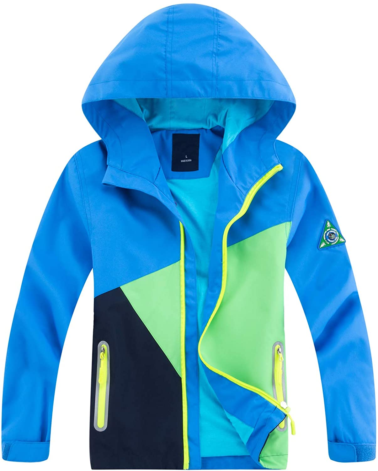 YoungSoul Boys Girls Colorblocked Raincoat Lightweight Outdoor Waterproof Jacket with Hood Blue 3-4 Years/Label S