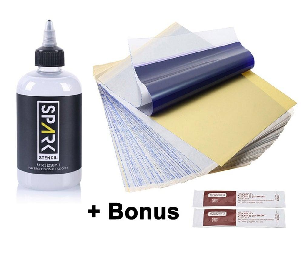 SPARK Stencil Stuff Tattoo Transfer Gel 250ml + 10 Sheets Spirit Thermal Paper