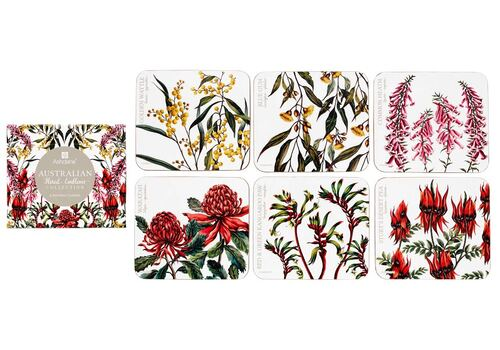 Australian Floral Emblems - Assorted Coasters 6 Pack