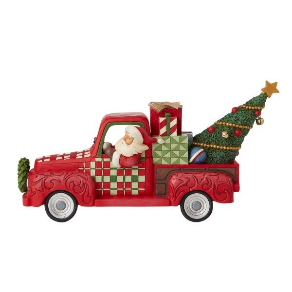 Country Living by Jim Shore - Santa in Red Truck - Country Roads Lead To Christmas